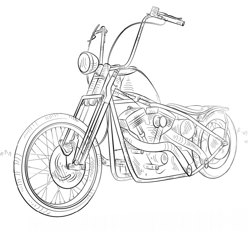 Motorcycle Coloring Pages Chopper