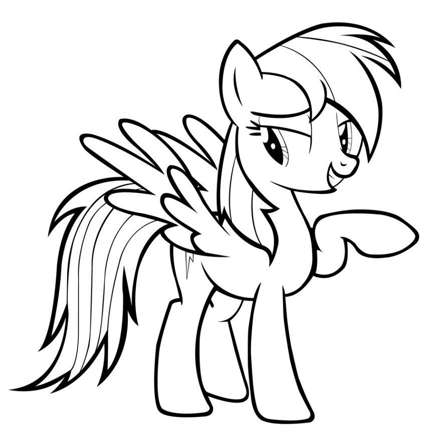 My Little Pony Coloring Pages Rainbow Dash Free