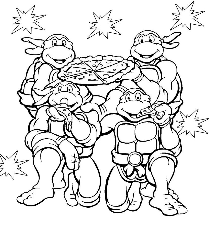 Ninja Turtle Coloring Sheets Pizza