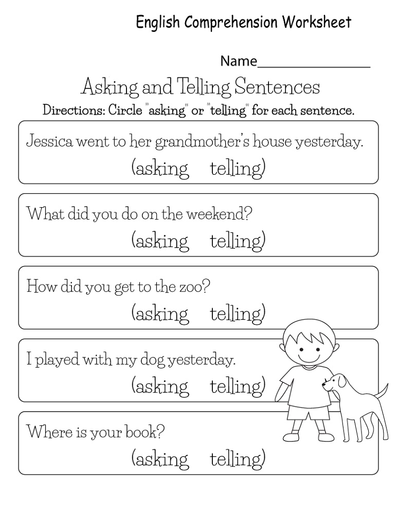 Printable English Worksheets Comprehension