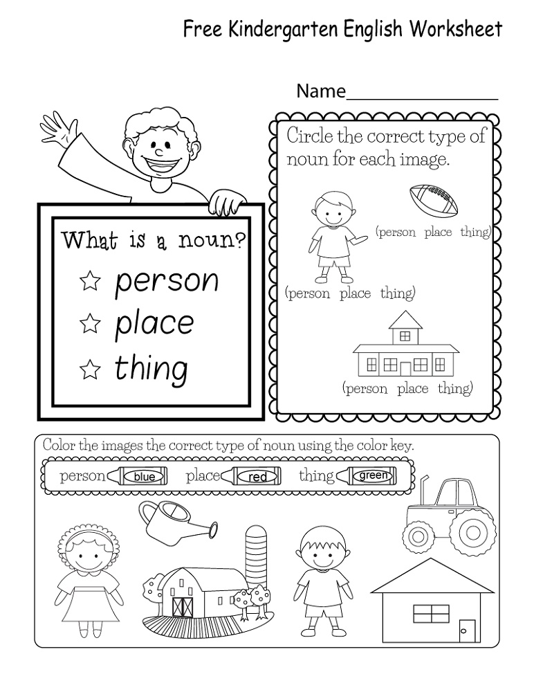 Printable English Worksheets Kindergarten