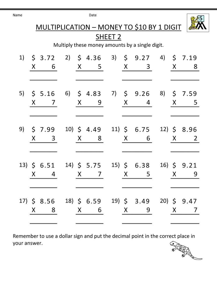 Printable Multiplication Worksheets 5th Grade