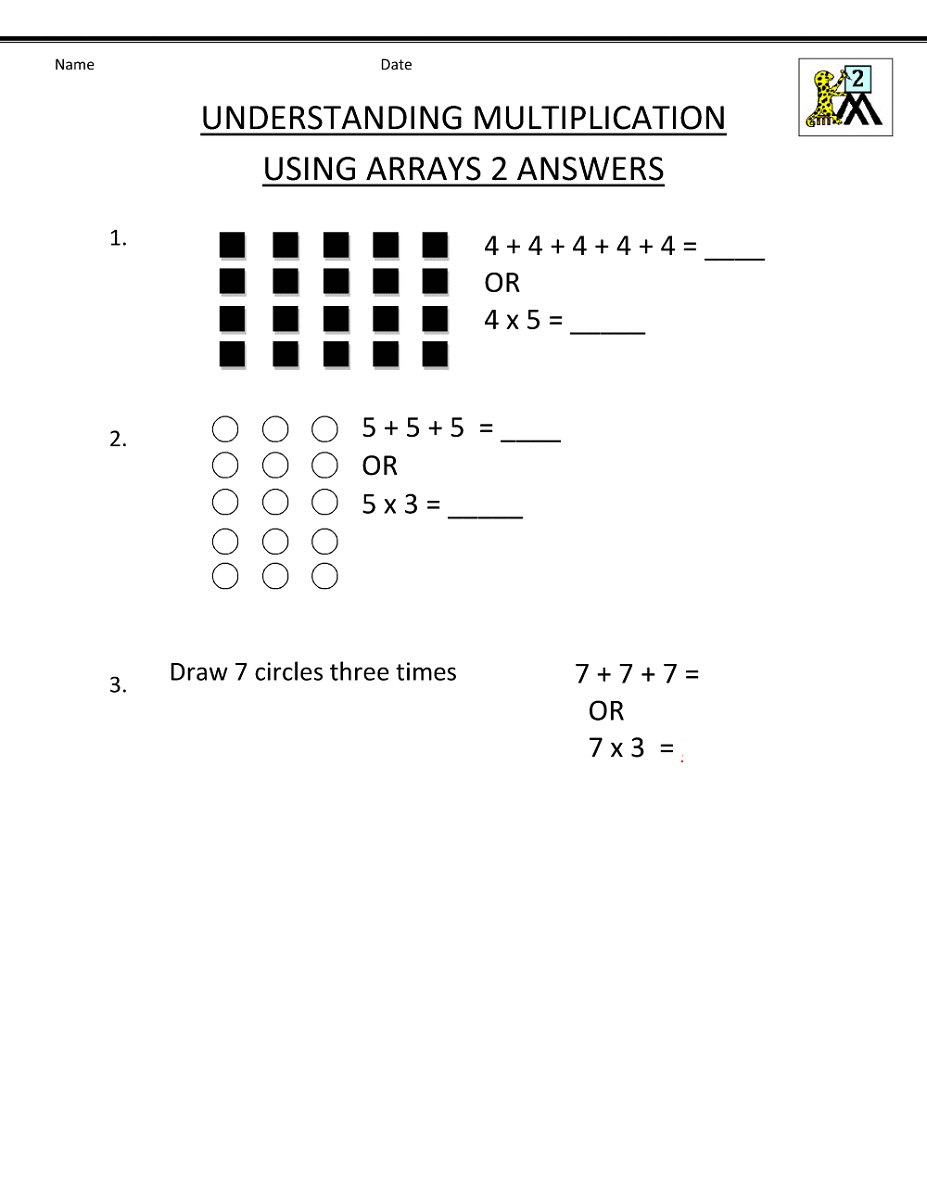 Printable Multiplication Worksheets Using Arrays