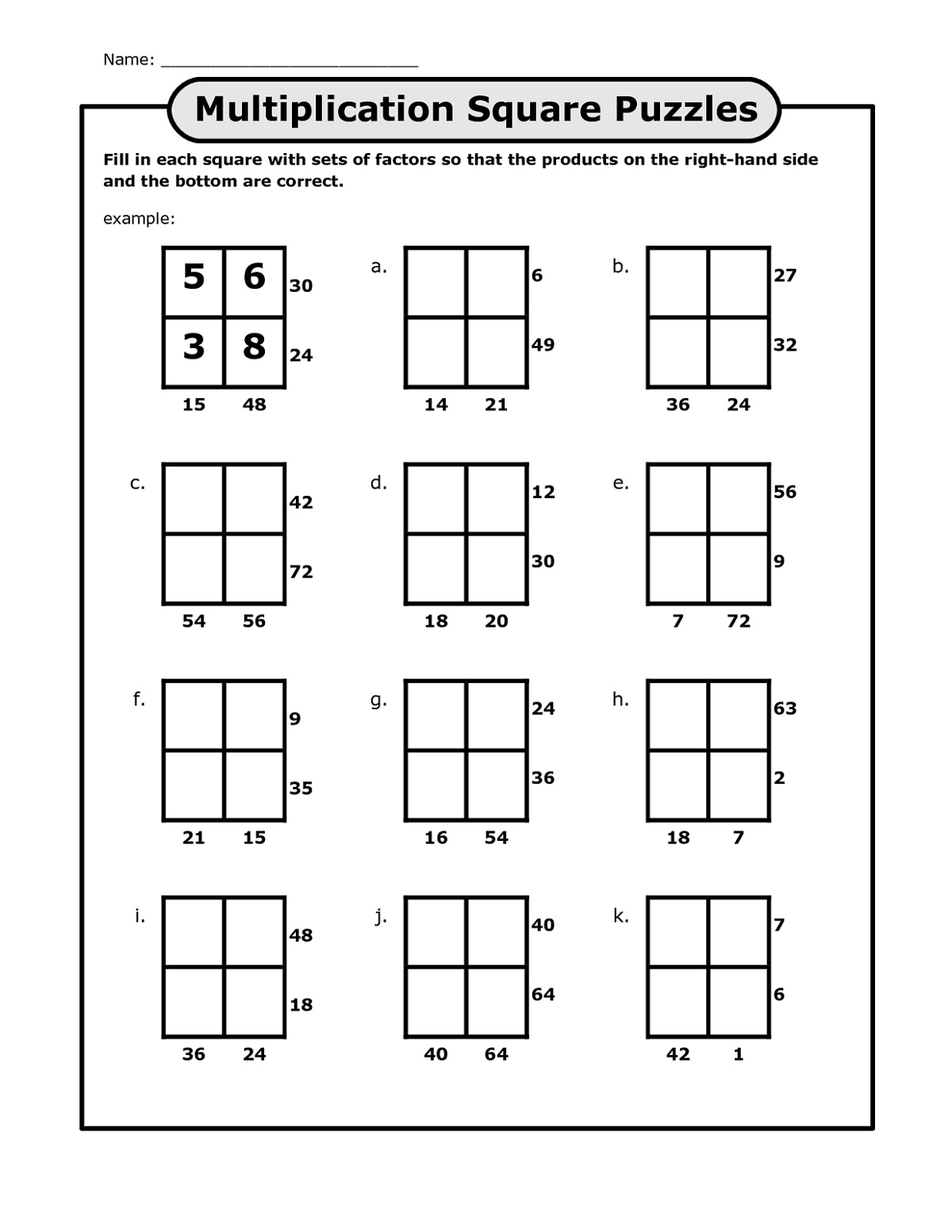 Printable Puzzles For Kids Math