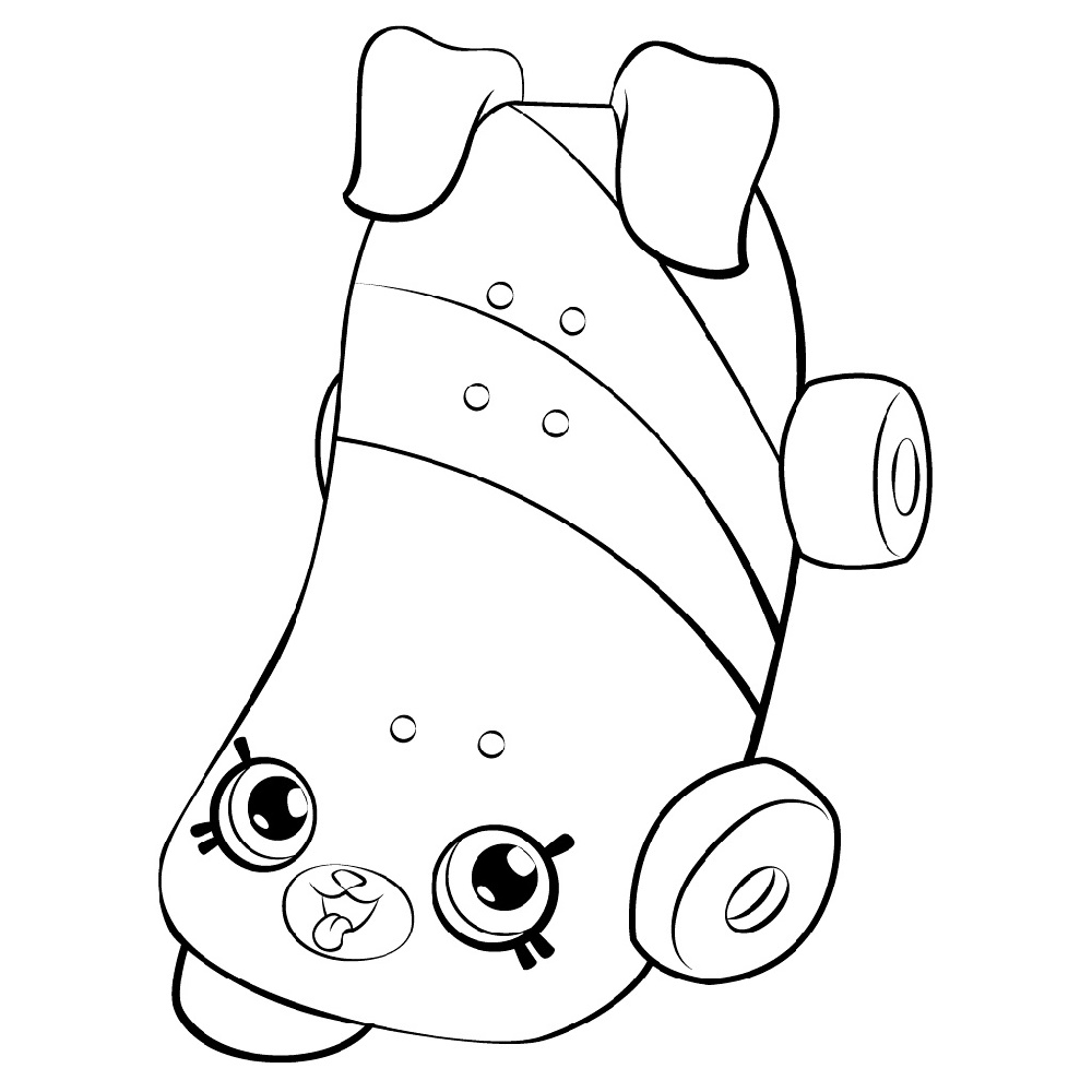 Shopkin Coloring Pages Katie Skateboard