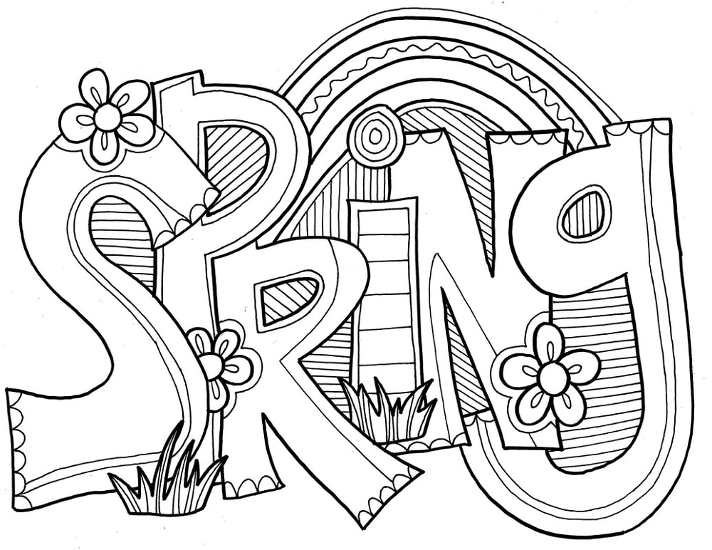Spring Coloring Sheets Doodle