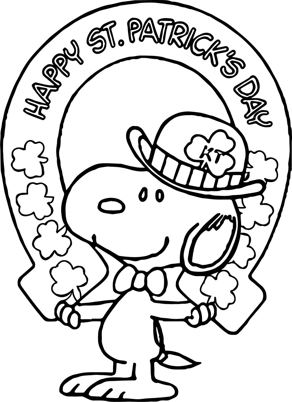 St Patrick's Day Coloring Pages Snoopy