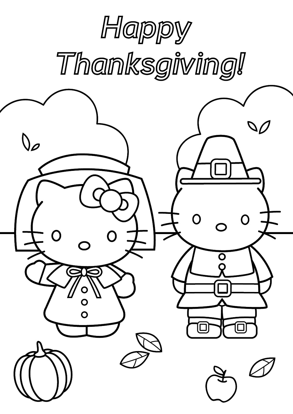 Thanksgiving Coloring Sheets Hello Kitty