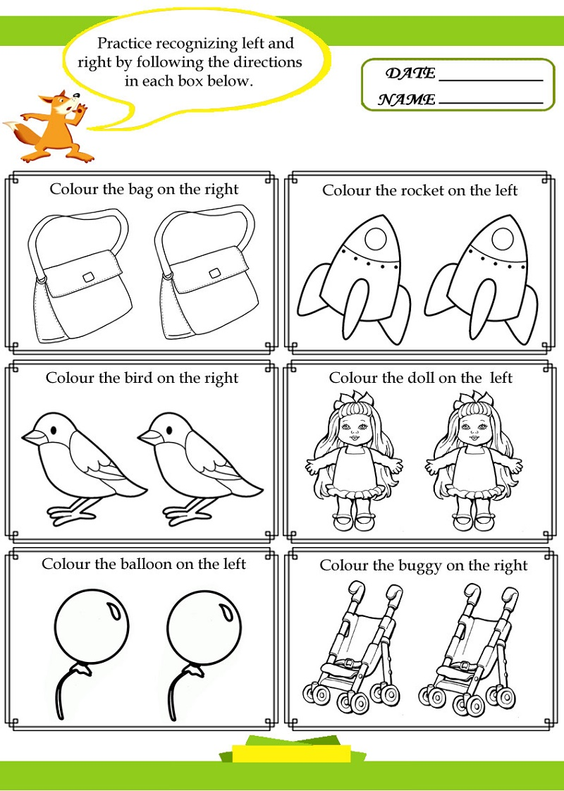 Children's Fun Activity Sheets Left Right