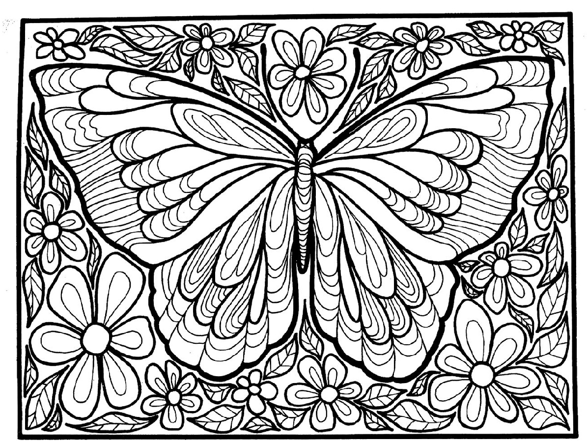 Coloring Pages Of Flowers And Butterflies For Adult