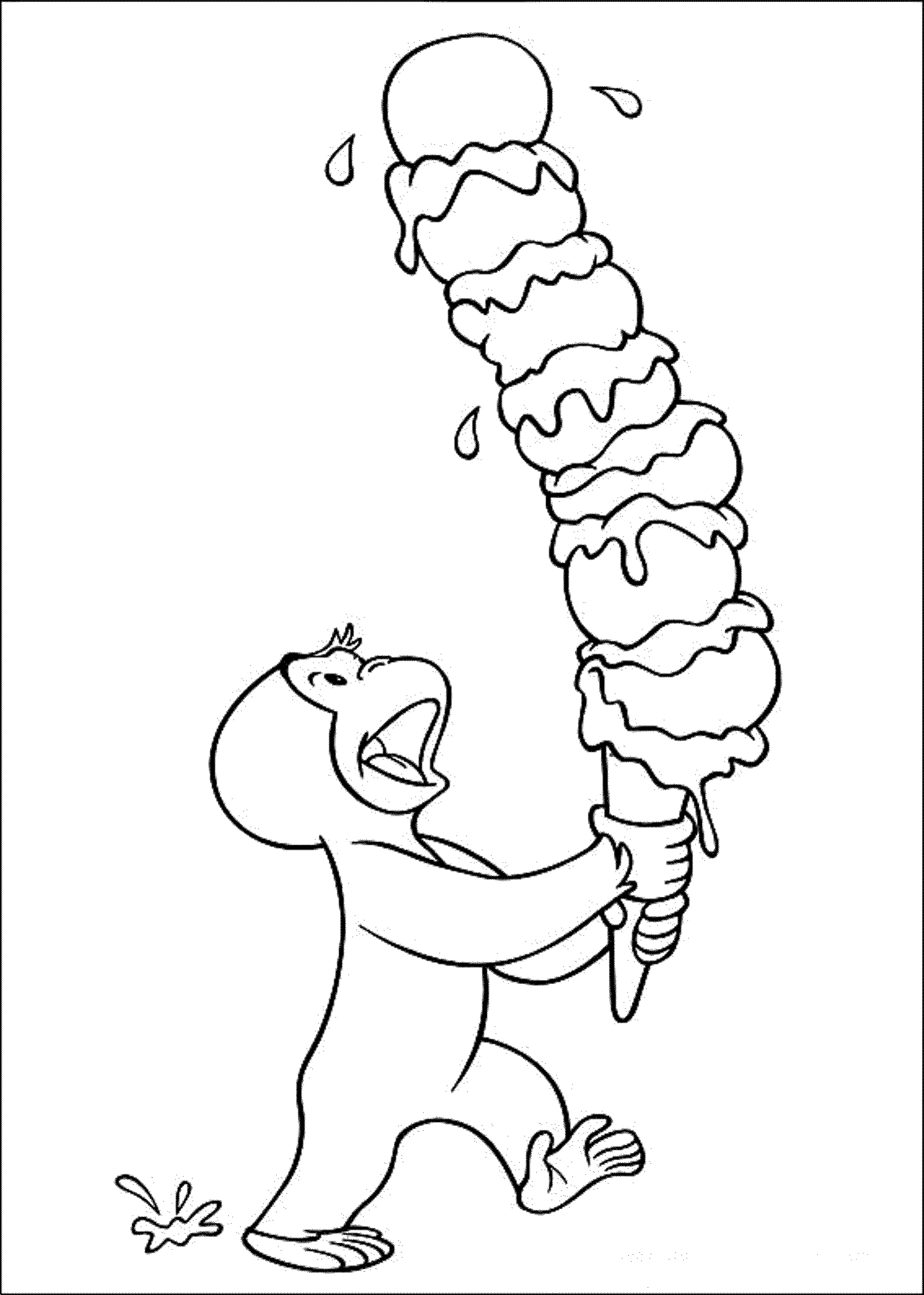 Curious George Coloring Pages Ice Cream
