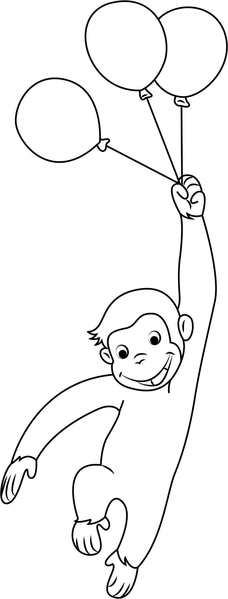 Curious George Coloring Pages With Baloons