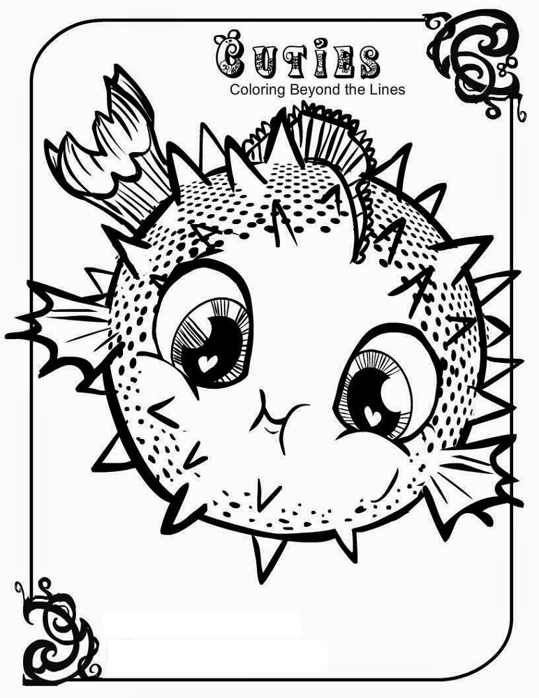 Cuties Coloring Pages Blowfish