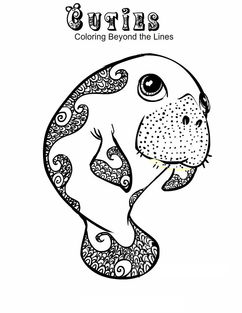 Cuties Coloring Pages Manatee