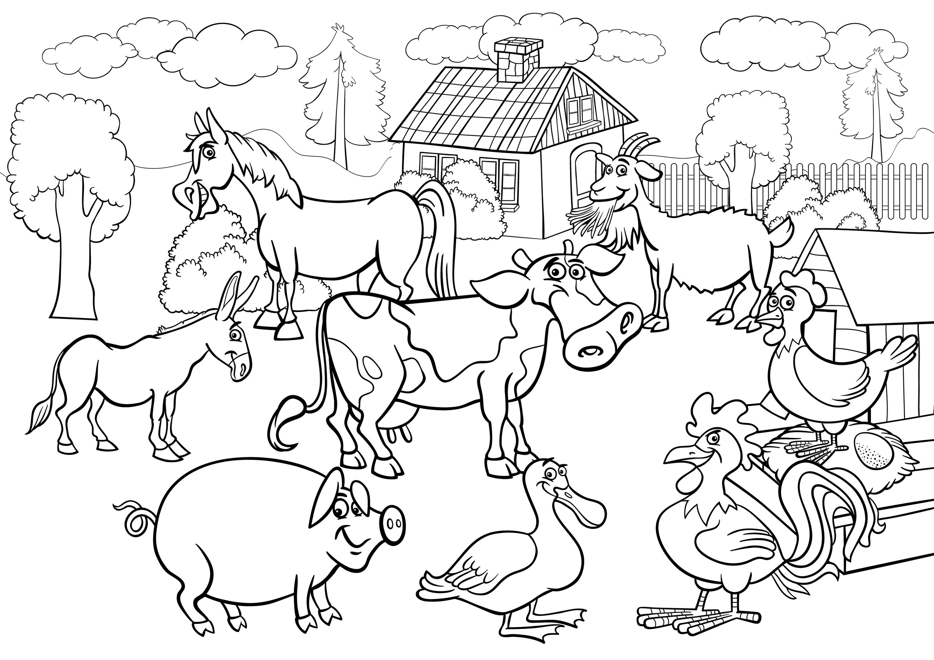 Farm Coloring Pages Scene