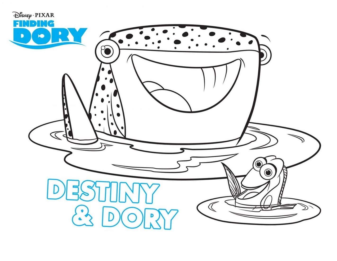 Finding Dory Coloring Pages Destiny And Dory