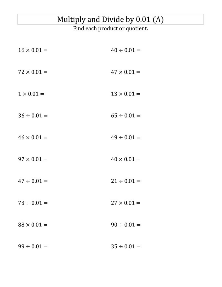 Free 6th Grade Math Worksheets Decimal