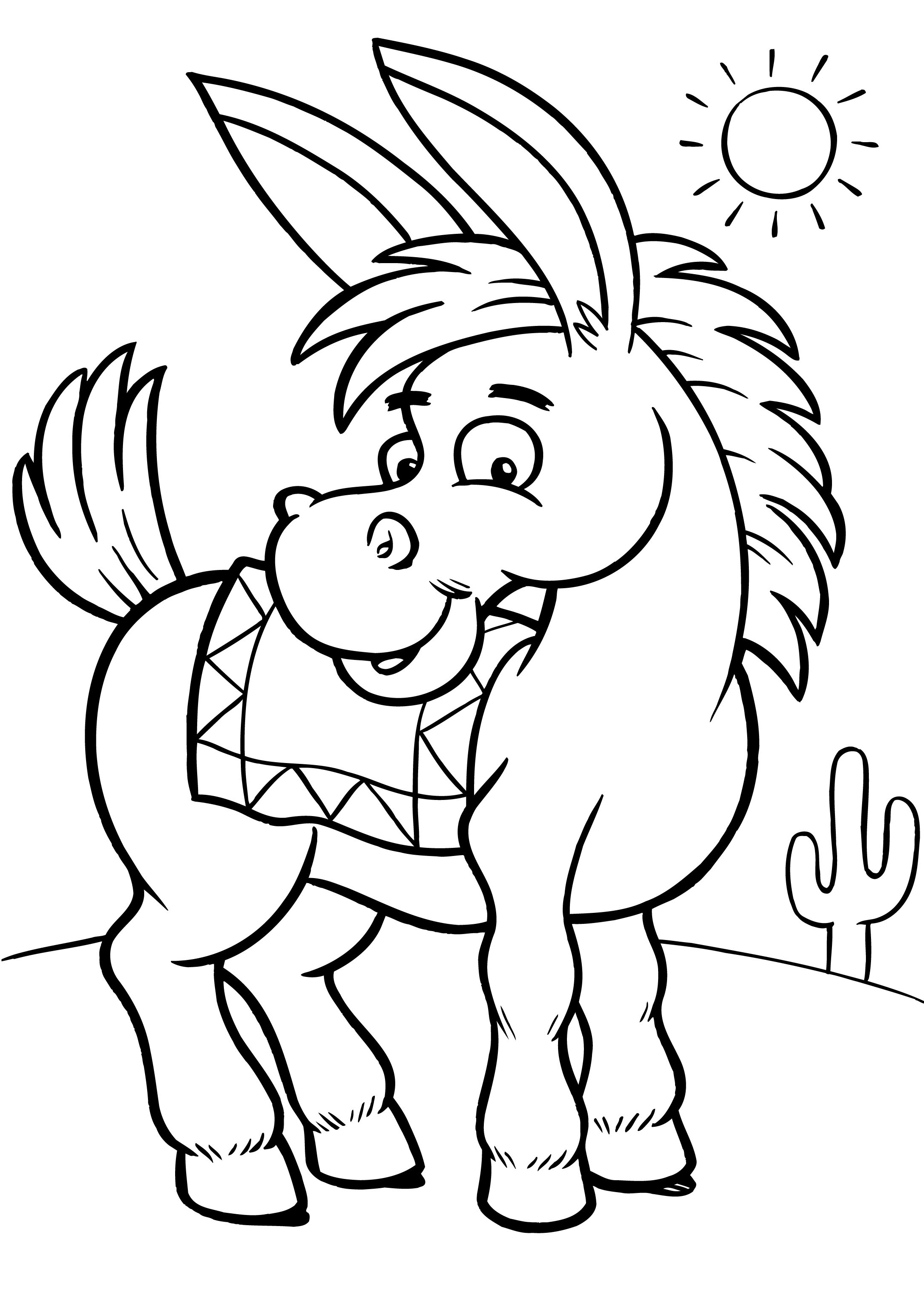 Free Coloring Pages Donkey