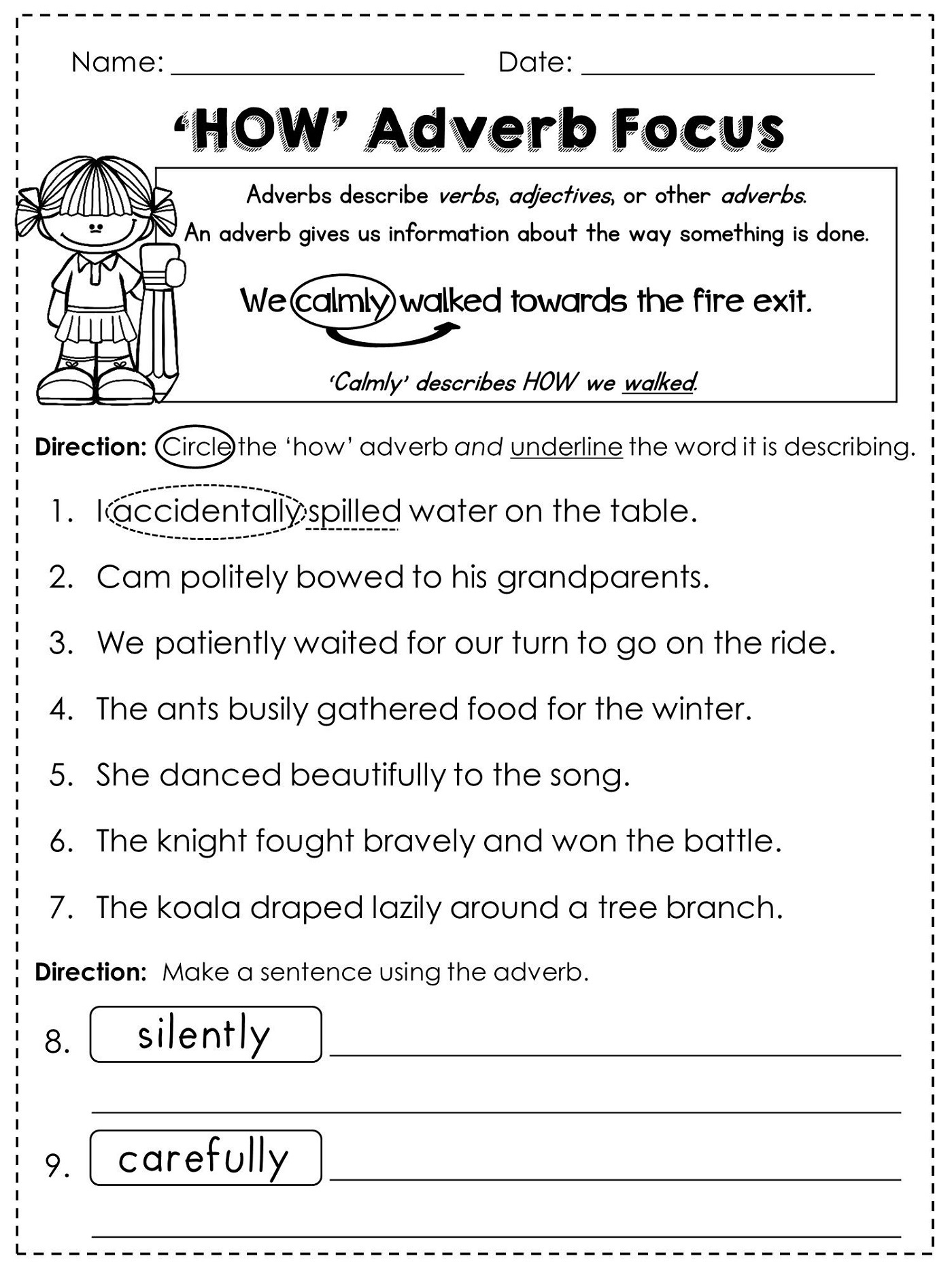 Free Grammar Worksheets Adverbs