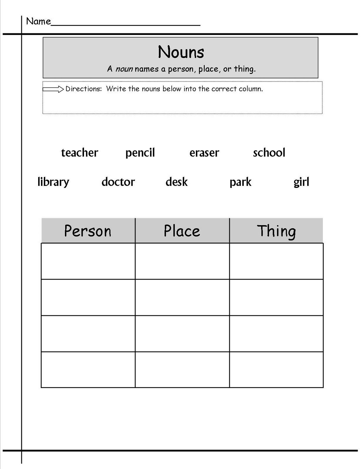 Free Grammar Worksheets Nouns