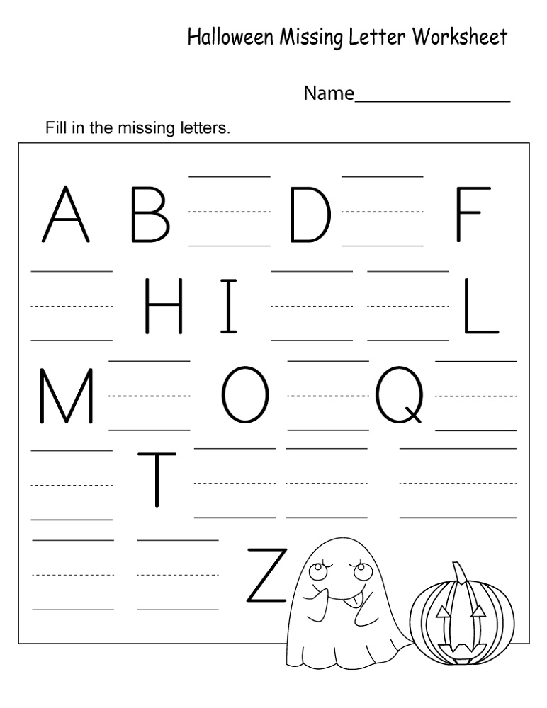 Free Kindergarten Worksheets Missing Letter