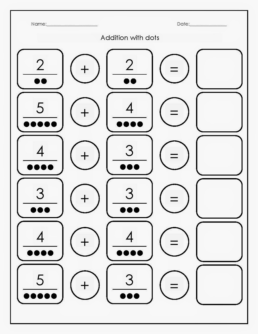 Free Math Printables Addition