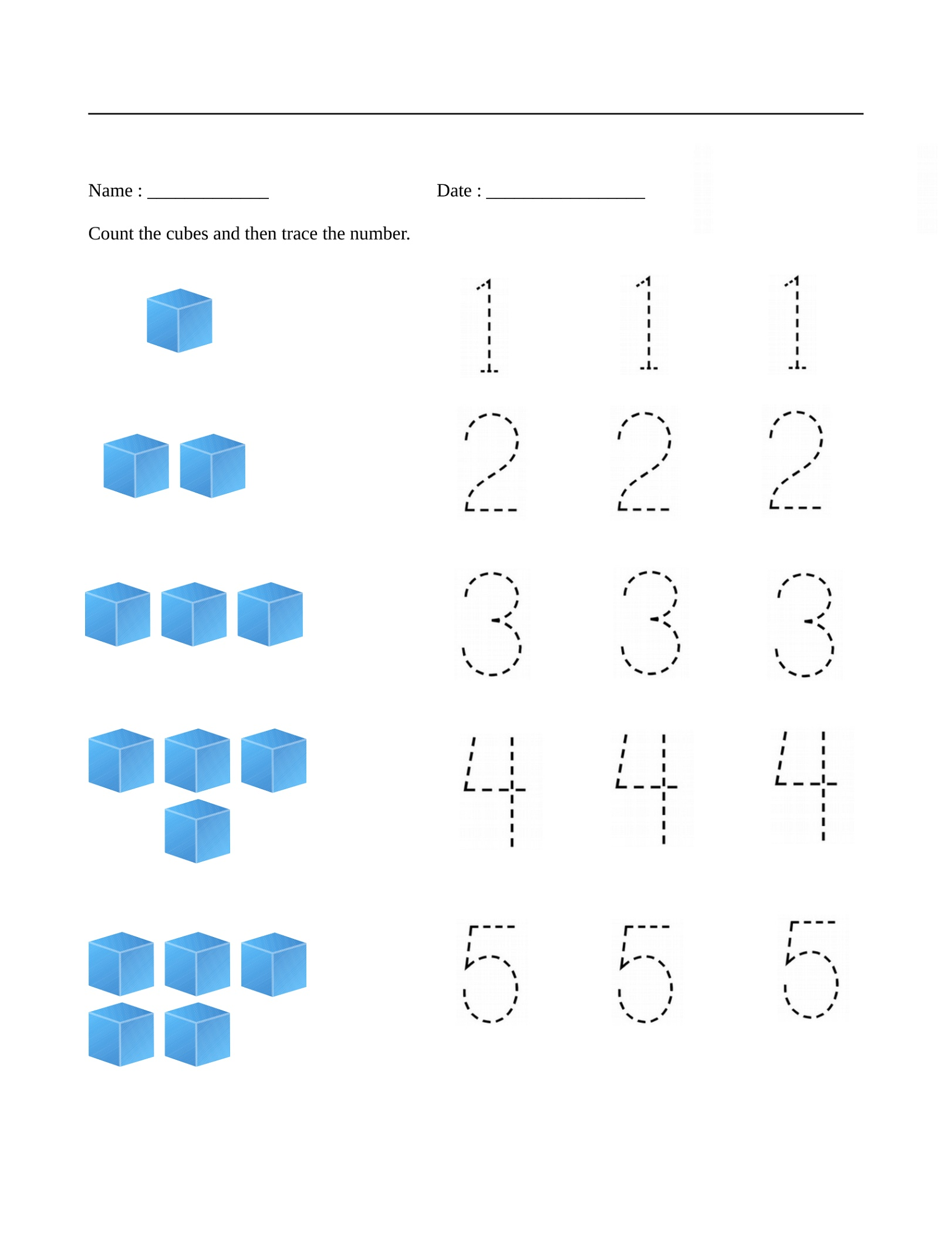 Free Math Printables Preschool