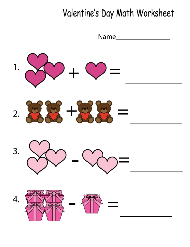 Free Math Printables Valentine's Day