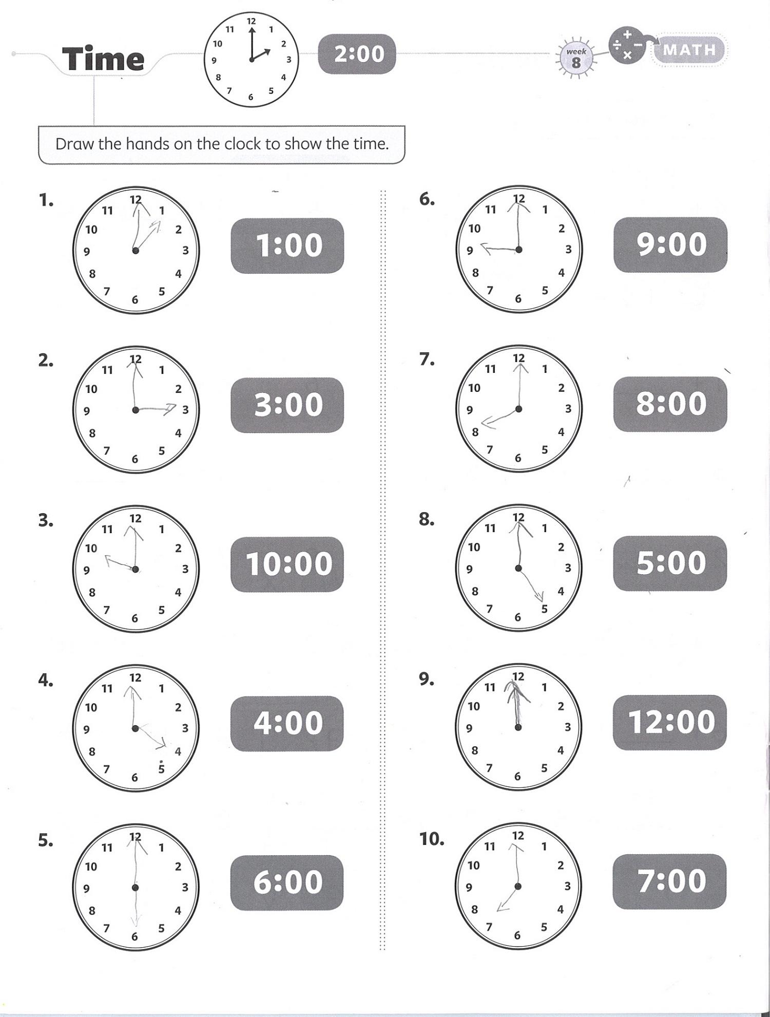 Free Math Printouts Time