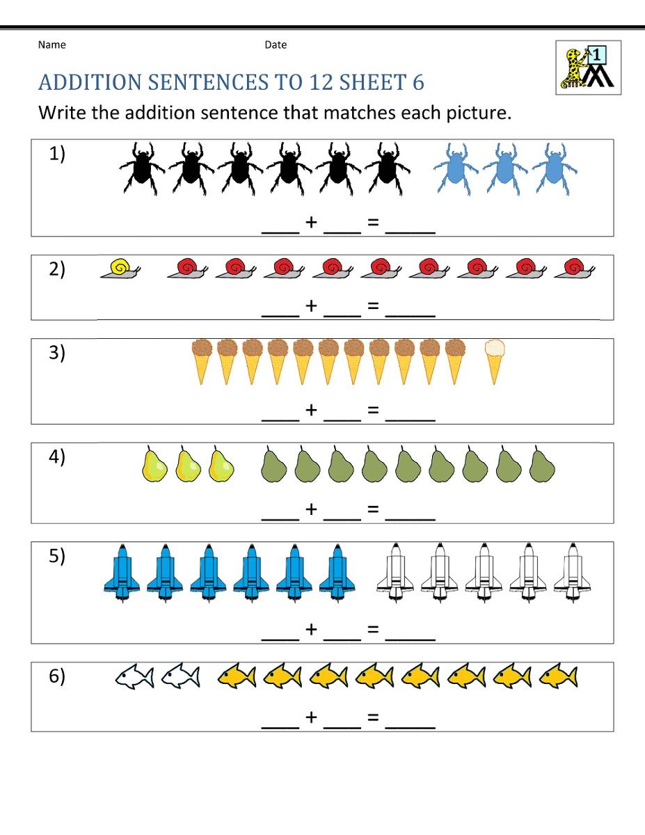 Free Math Worksheets For 1st Grade Addition Sentences