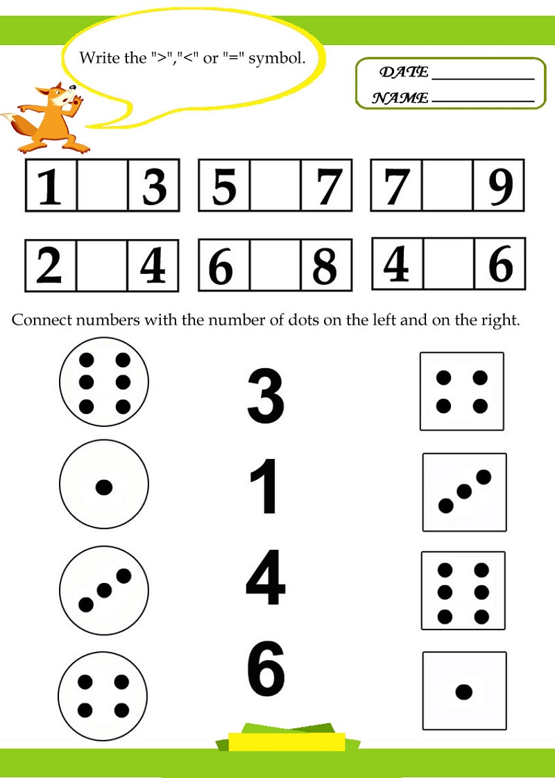 Free Math Worksheets For Kids Comparing Number