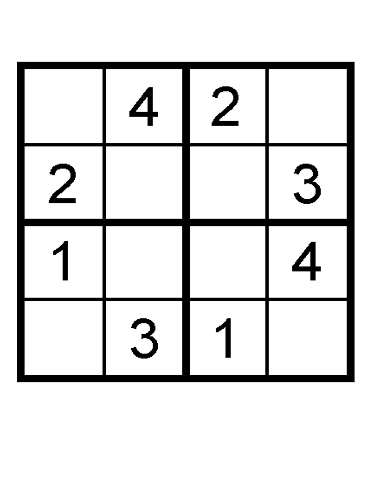 Free Printable Puzzles for Kids Sudoku