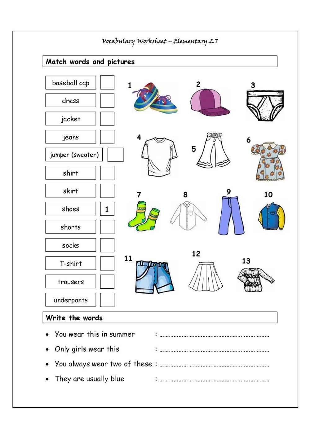 Free Printable Resources English