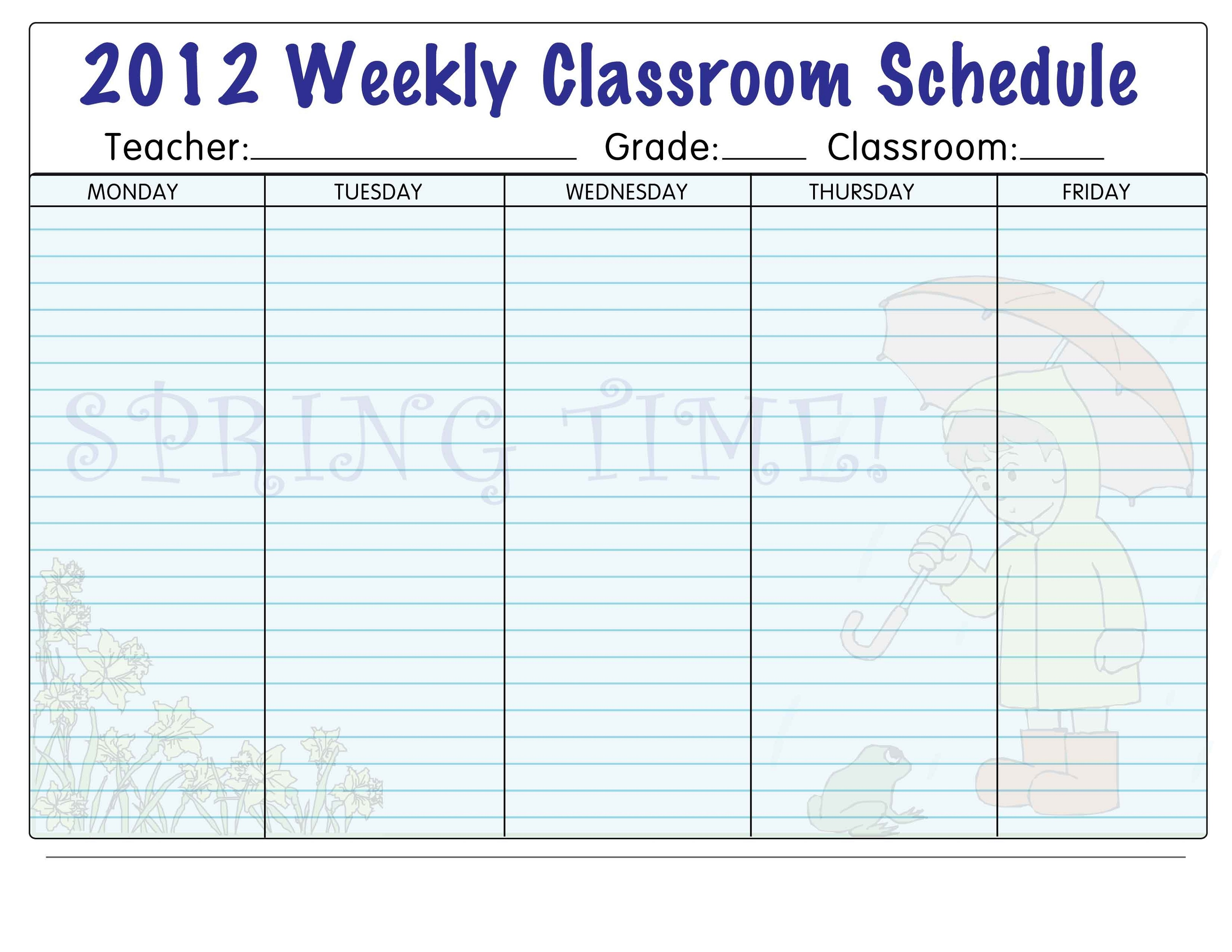Free Printables for Teachers Schedule