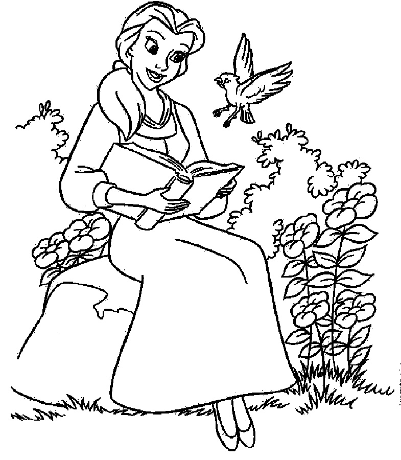 Belle Coloring Pages Reading