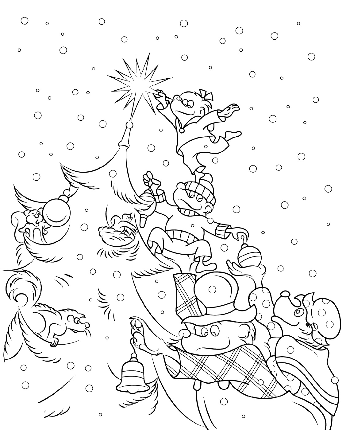 Berenstain Bears Coloring Pages Christmas Tree