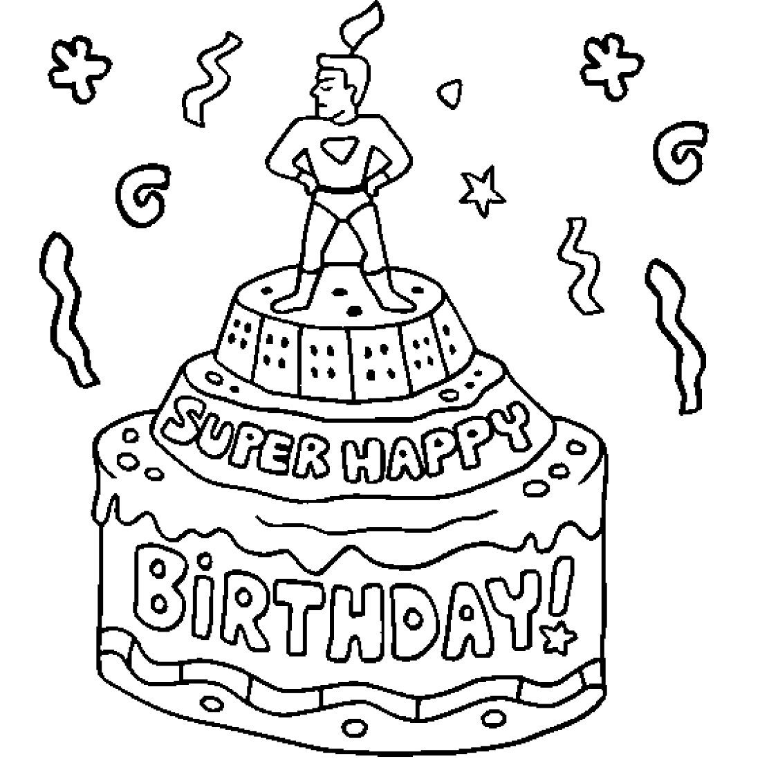 Birthday Coloring Pages Birthday Cake For Kids