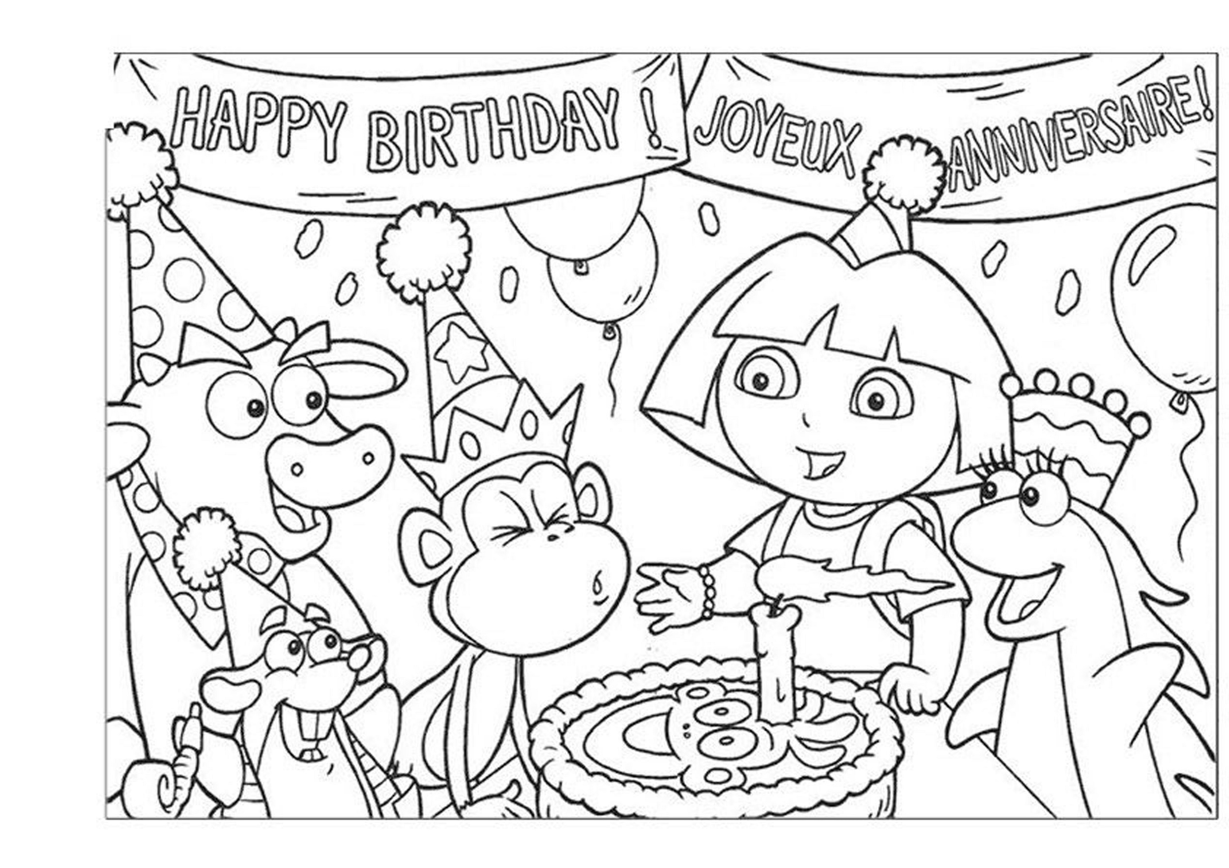 Birthday Coloring Pages Dora