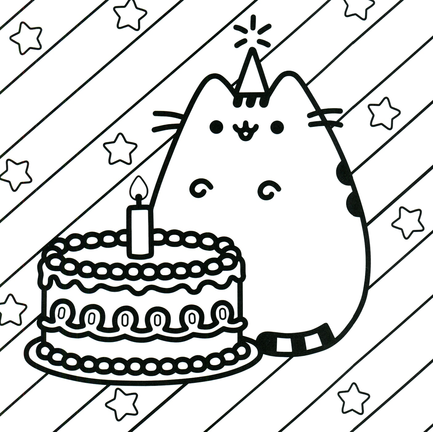 Birthday Coloring Pages Pusheen