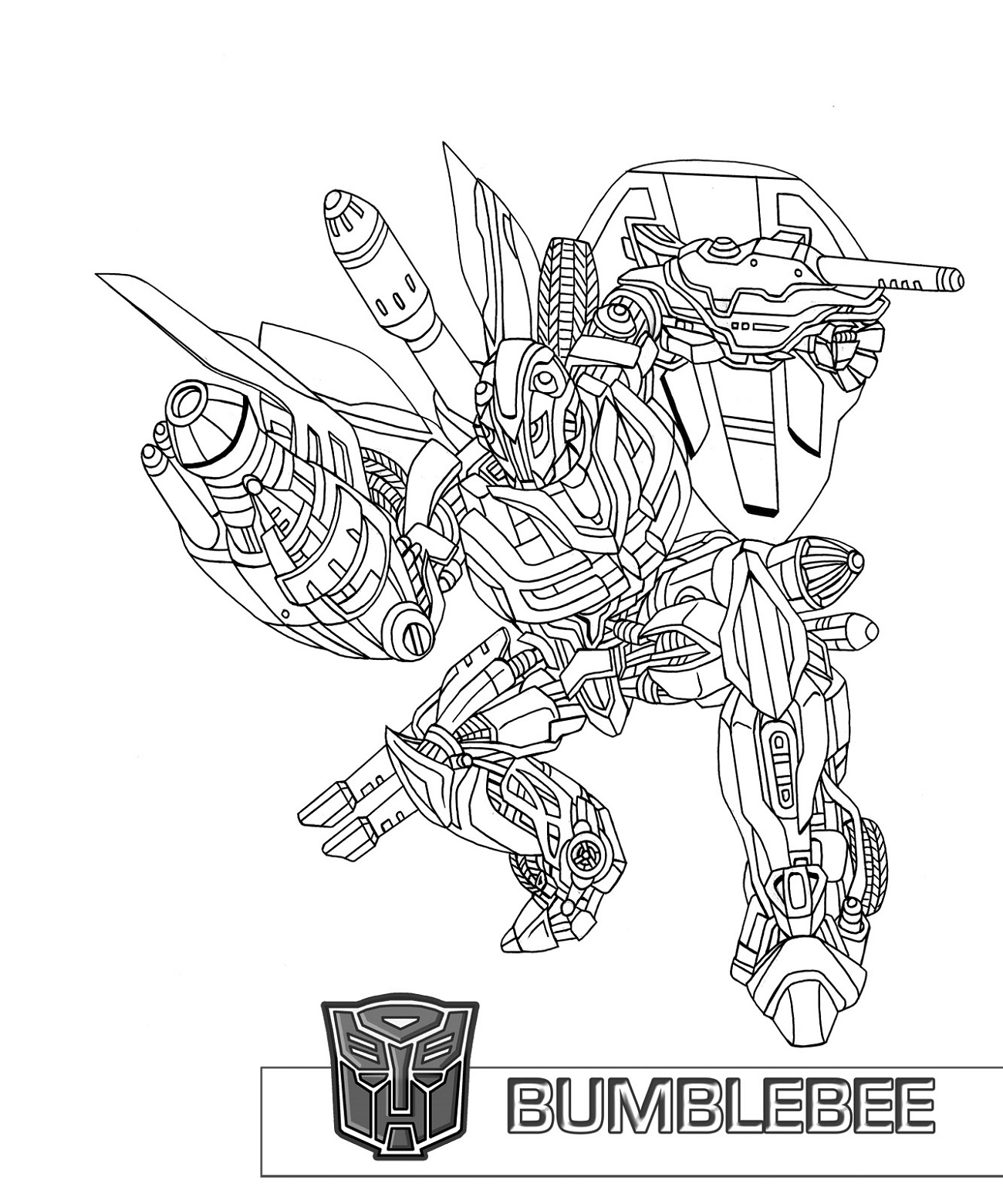 Bumblebee Transformer Coloring Page Printable