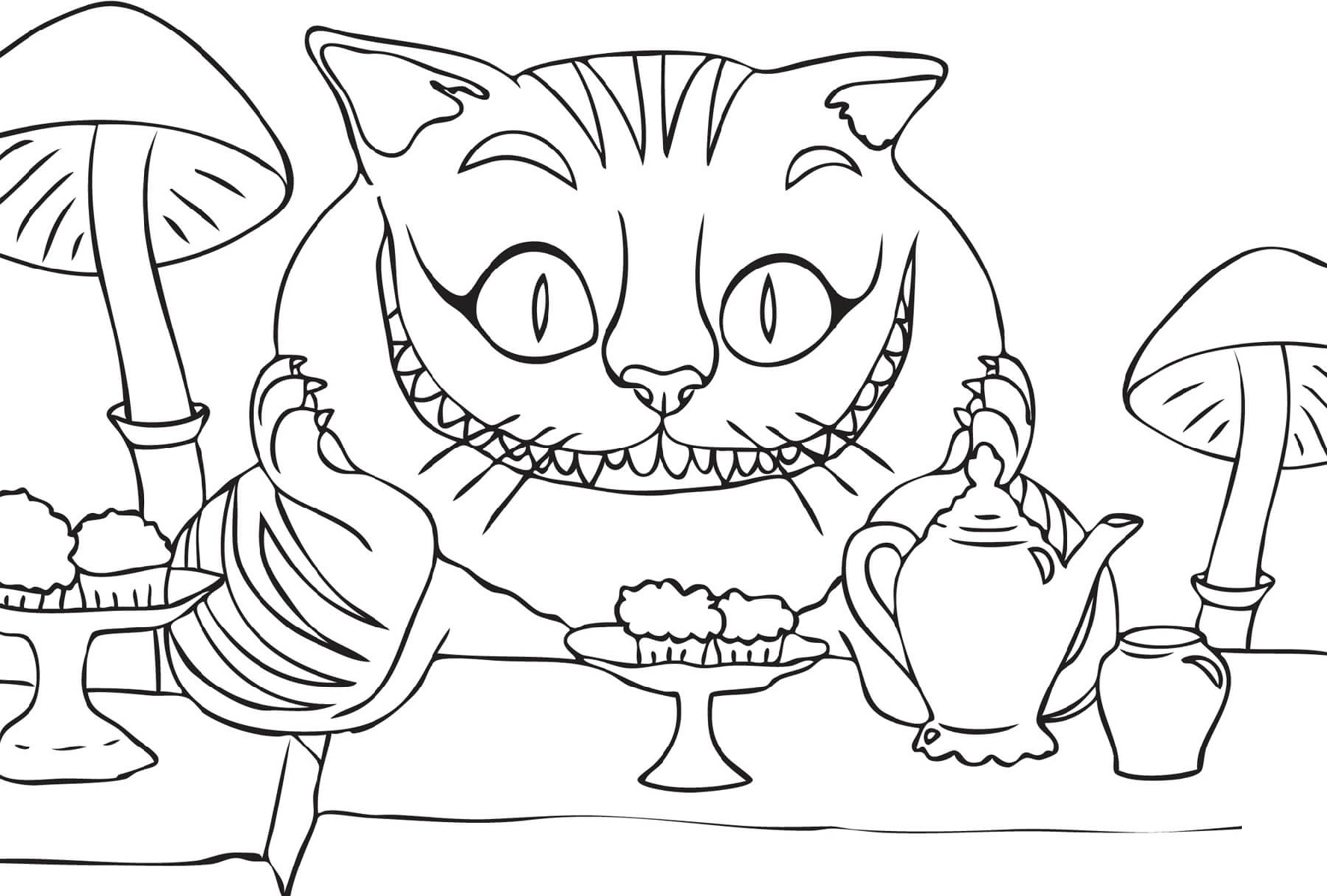 Cheshire Cat Coloring Pages Alice In Wonderland