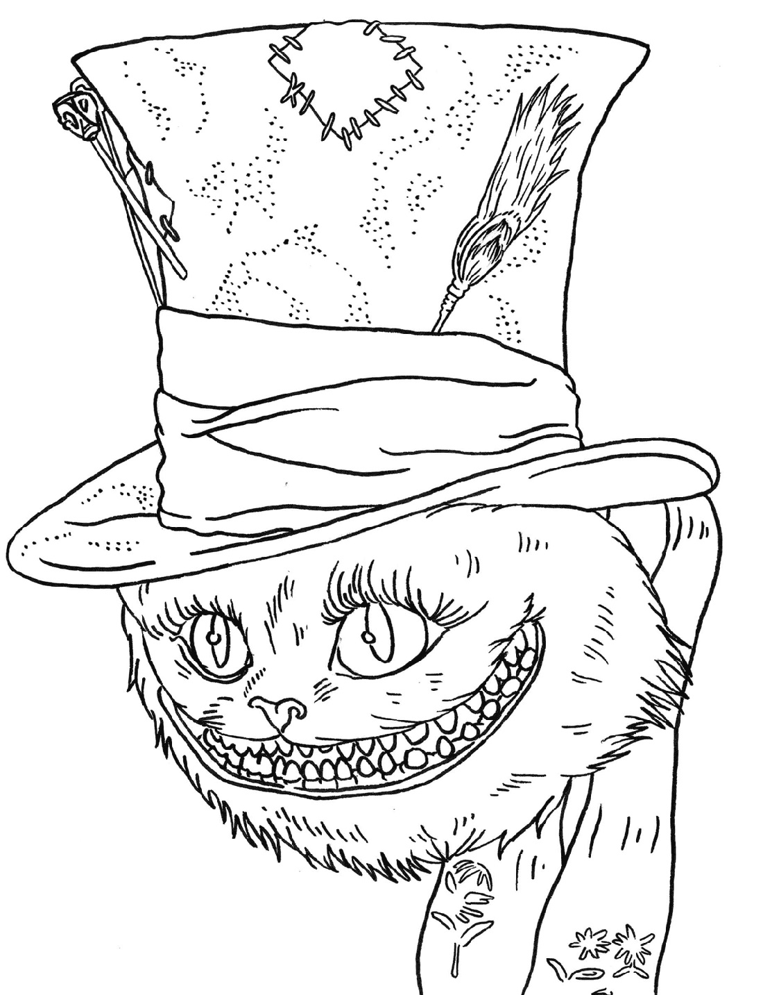 Cheshire Cat Coloring Pages To Print