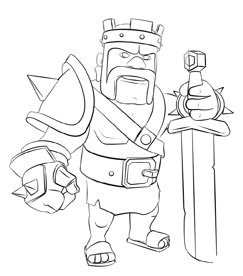 Clash Of Clans Coloring Pages Barbarian King