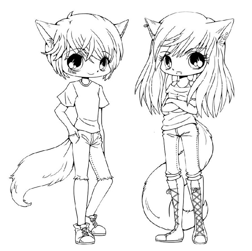 Cute Anime Coloring Pages Cat Girl And Boy