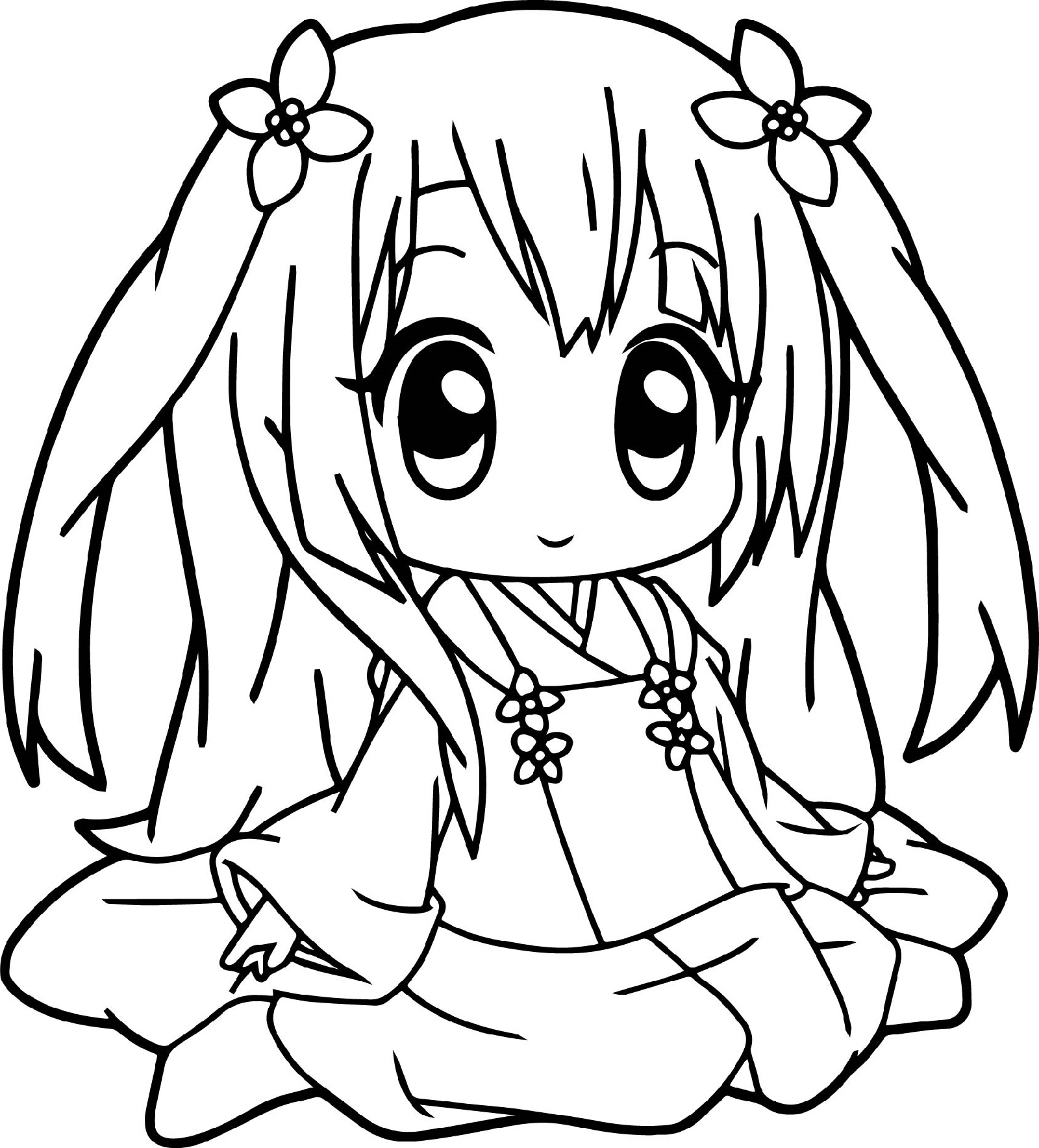 Cute Anime Coloring Pages Little Girl