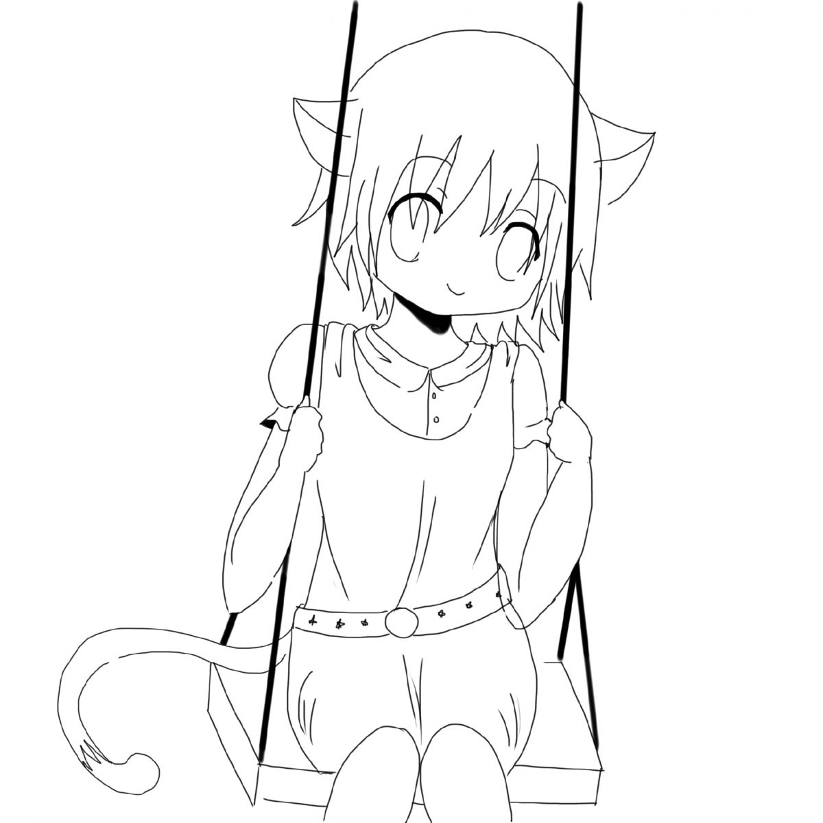 Cute Anime Coloring Pages Neko Girl
