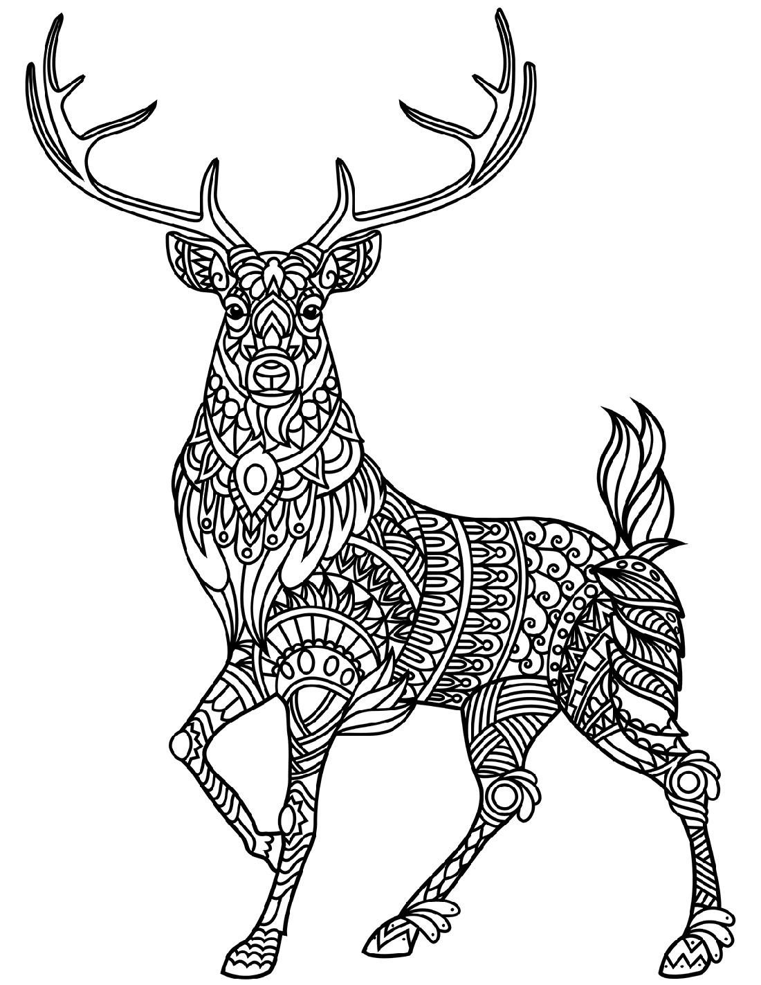 Deer Coloring Pages Zentangle