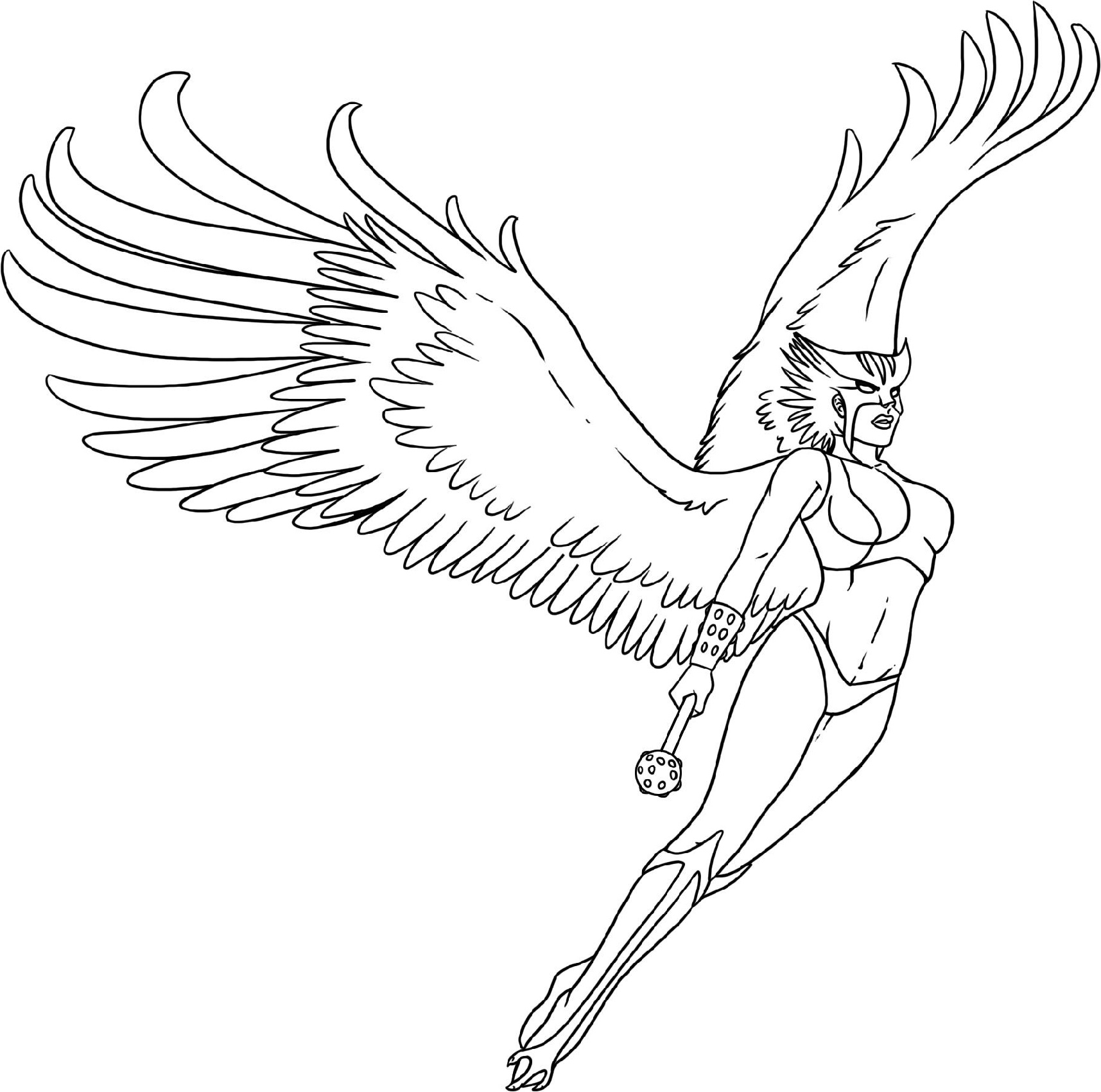 Female Superhero Coloring Pages Hawkgirl