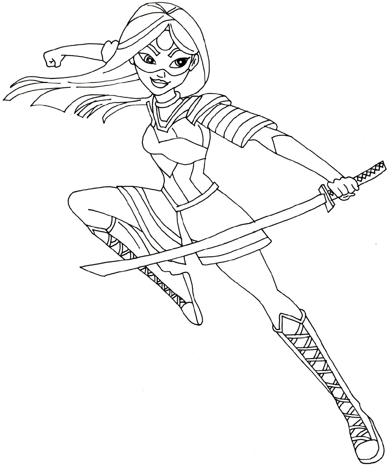 Female Superhero Coloring Pages Katana