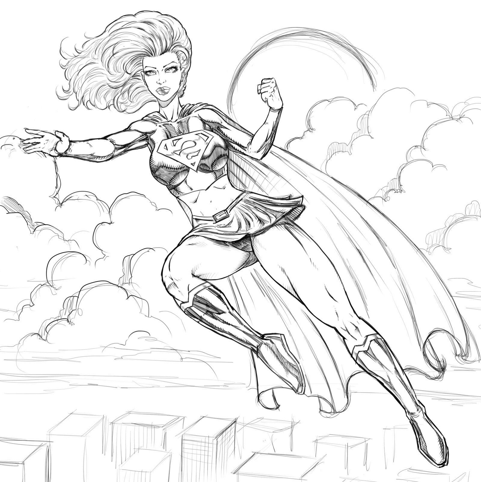 Female Superhero Coloring Pages Super Girl
